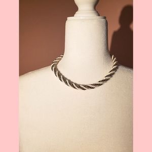 Forever21 pearl/gold rope chain choker